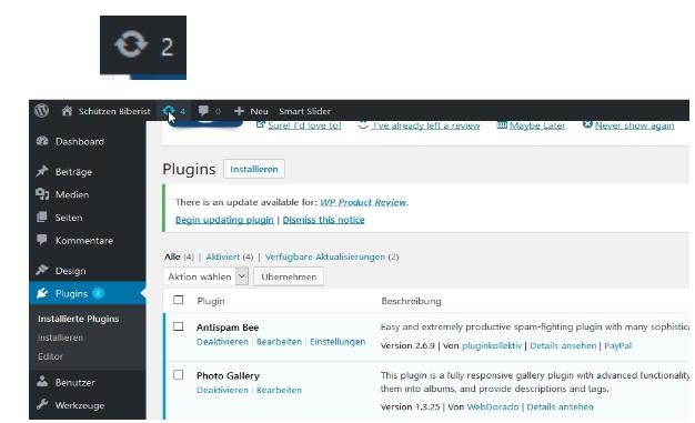 aktualisieren WordPress